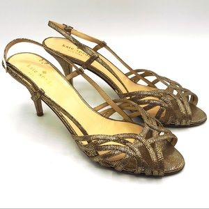 Kate Spade gold strappy heels sandals metallic